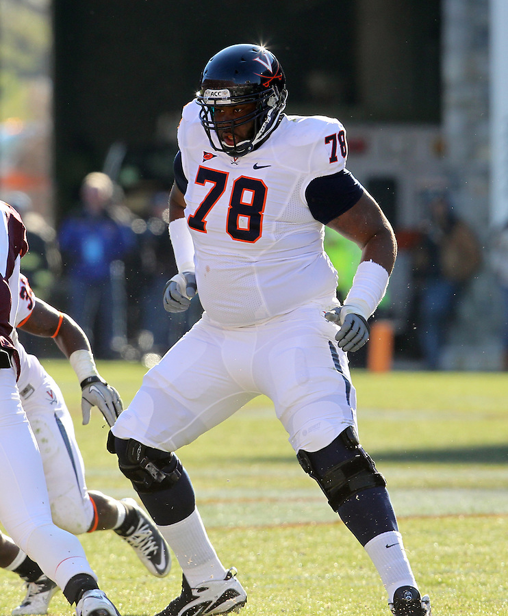 Nov 27, 2010; Charlottesville, VA, USA;  Virginia Cavaliers offensive tackle Morgan Moses (78) during the game at Lane Stadium. Virginia Tech won 37-7. Mandatory Credit: Andrew Shurtleff