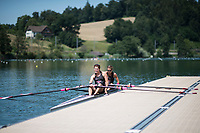 Lucerne, SWITZERLAND, 12th July 2018, Thursday, Canadian Women's Double Scull, sitting at the boating pontoon FISA World Cup III, Lake Rotsee, © Peter SPURRIER,