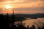 Idaho,North,Lake Coeur d'Alene, Arrow Point. Sunset overlooking Arrow Point.