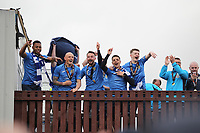Post match celebrations during the Vanarama National League North match between Nuneaton Town and Stockport County at the Liberty Way Stadium, Nuneaton, England on 27 April 2019. Photo by James  Gill.