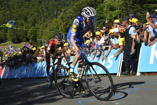 Dan Martin (IRL) Quick-Step Floors and Richie Porte (AUS) BMC on La Planche des Belles Filles near the end of Stage 5 of the 104th edition of the Tour de France 2017, running 160.5km from Vittel to La Planche des Belles Filles, France. 5th July 2017.<br /> Picture: ASO/Bruno Bade | Cyclefile<br /> <br /> <br /> All photos usage must carry mandatory copyright credit (&copy; Cyclefile | ASO/Bruno Bade)