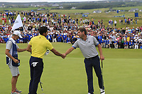 Rafa Cabrera-Bello (ESP) and Robert Rock (ENG) finish on the 18th green during Sunday's Final Round of the Dubai Duty Free Irish Open 2019, held at Lahinch Golf Club, Lahinch, Ireland. 7th July 2019.<br /> Picture: Eoin Clarke | Golffile<br /> <br /> <br /> All photos usage must carry mandatory copyright credit (© Golffile | Eoin Clarke)