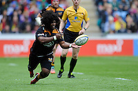 Ashley Johnson of Wasps makes sure he recycles a loose ball