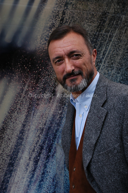 Spanish author Arturo Perez Reverte in Paris to promote his book.