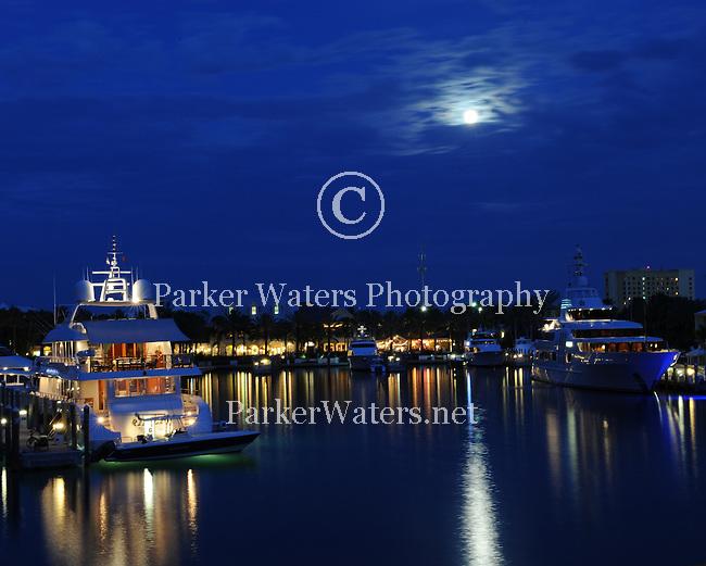 Moonlight falls on the harbor at Atlantis.