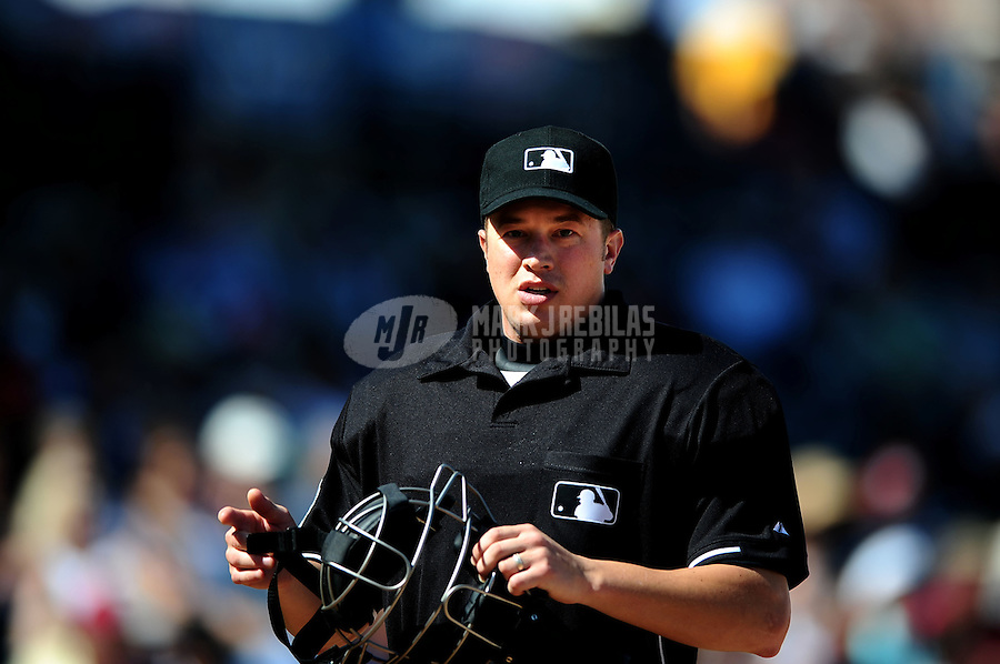 Mar. 10, 2010; Tempe, AZ, USA; MLB umpire Cory Blaser during the game between the Seattle Mariners against the Texas Rangers at Surprise Stadium. Mandatory Credit: Mark J. Rebilas-