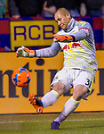 New York Red Bulls goalkeeper Luis Robles (31) punts the ball against Real Salt Lake in the first half Saturday, March 17, 2018, during the Major League Soccer game at Rio Tiinto Stadium in Sandy, Utah. (© 2018 Douglas C. Pizac)