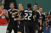 DC United forward Adam Cristman (7) celebrates with team mates his score.   DC United defeated Chivas USA 3-2 at RFK Stadium, Saturday  May 29, 2010.