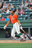 Right fielder John Norwood (27) of the Greensboro Grasshoppers bats in a game against the Greenville Drive on Thursday, August 27, 2015, at Fluor Field at the West End in Greenville, South Carolina. Greenville won, 10-2.  (Tom Priddy/Four Seam Images)