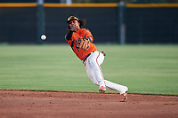 AZL Giants Orange second baseman Andrew Caraballo (1) throws to first base during an Arizona League game against the AZL Mariners on July 18, 2019 at the Giants Baseball Complex in Scottsdale, Arizona. The AZL Giants Orange defeated the AZL Mariners 7-4. (Zachary Lucy/Four Seam Images)