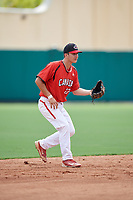 Canadian Junior National Team Austin Gomm (27) during a Florida Instructional League game against the Atlanta Braves on October 9, 2018 at the ESPN Wide World of Sports Complex in Orlando, Florida.  (Mike Janes/Four Seam Images)