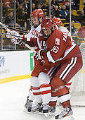 Patrick MacGregor (BU - 4), Alex Fallstrom (Harvard - 16) - The Boston University Terriers defeated the Harvard University Crimson 3-1 in the opening round of the 2012 Beanpot on Monday, February 6, 2012, at TD Garden in Boston, Massachusetts.