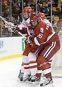 Patrick MacGregor (BU - 4), Alex Fallstrom (Harvard - 16) - The Boston University Terriers defeated the Harvard University Crimson 3-1 in the opening round of the 2012 Beanpot on Monday, February 6, 2012, at TD Garden in Boston, Massachusetts.