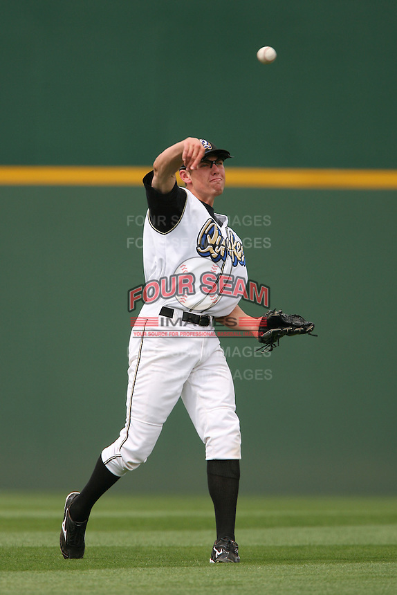 April 27 2007: Peter Bourjos of the Rancho Cucamonga Quakes in the field against the Stockton Ports at The Epicenter in Rancho Cucamonga,CA.  Photo by Larry Goren/Four Seam Images