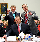 "Washington, DC - February 13, 2008 -- Attorneys Rusty Hardin, upper left, and Lanny Breuer, upper right, take exception to some questioning by Henry Waxman (Democrat of California), Chairman, United States House of Representatives Committee on Government Operations and Reform (not pictured), during the testimony of Roger Clemens, former New York Yankee pitcher, lower center, on ""The Mitchell Report: The Illegal use of Steroids in Major League Baseball, Day 2""  concerning alleged use of steroids and human growth hormone (HGH) by Clemens and several other major league players in Washington, D.C. on Wednesday, February 13, 2008.  Clemens' wife, Debbie, is at lower left..Credit: Ron Sachs / CNP"