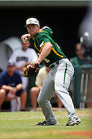 Baylor Bears third baseman Cal Towey #18 throws to first during the NCAA Regional baseball game against Oral Roberts University on June 3, 2012 at Baylor Ball Park in Waco, Texas. Baylor defeated Oral Roberts 5-2. (Andrew Woolley/Four Seam Images)