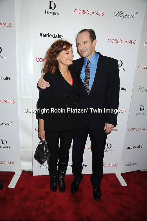 """Susan Sarandon and Ralph Fiennes arrive for the New York Premiere of """"Coriolanus"""" on January 17, 2012 at The Paris Theatre in New York City. The movie stars Vanessa Redgrave, Ralph Fiennes and Jessica Chastain."""