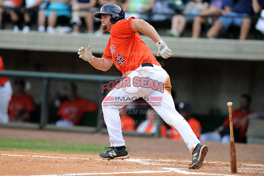 Greenville Astros first baseman Chase McDonald #62 runs to first during a game against the Kingsport Mets at Pioneer Park on August 4, 2013 in Greenville, Tennessee. The Astros won the game 17-1. (Tony Farlow/Four Seam Images)