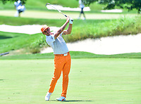 Bethesda, MD - July 1, 2018:  Rickie Fowler hits the perfect shot at hole 2 during the final round of professional play at the Quicken Loans National Tournament at TPC Potomac at Avenel Farm in Bethesda, MD.  (Photo by Phillip Peters/Media Images International)