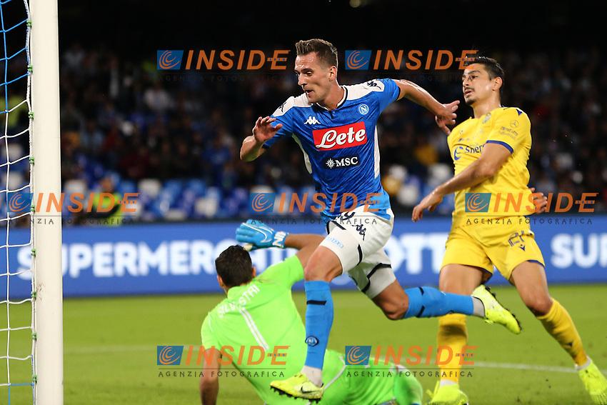Arkadiusz Milik of Napoli scores a goal<br /> Napoli 19-10-2019 Stadio San Paolo <br /> Football Serie A 2019/2020 <br /> SSC Napoli - Hellas Verona FC<br /> Photo Cesare Purini / Insidefoto