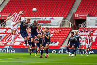4th July 2020; Bet365 Stadium, Stoke, Staffordshire, England; English Championship Football, Stoke City versus Barnsley; Sam Vokes of Stoke City heads in the first goal for Stoke in the 8th minute