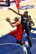 Washington, DC - September 2 2018: Washington Mystics forward Elena Delle Donne (11) goes up for a layup around Atlanta Dream center Elizabeth Williams (1) during semifinals game against Atlanta Dream. Mystics even the series and force a deciding game 5 in Atlanta with a 97-76 win at the Charles Smith Center at George Washington University in Washington, DC. (Photo by Phil Peters/Media Images International)