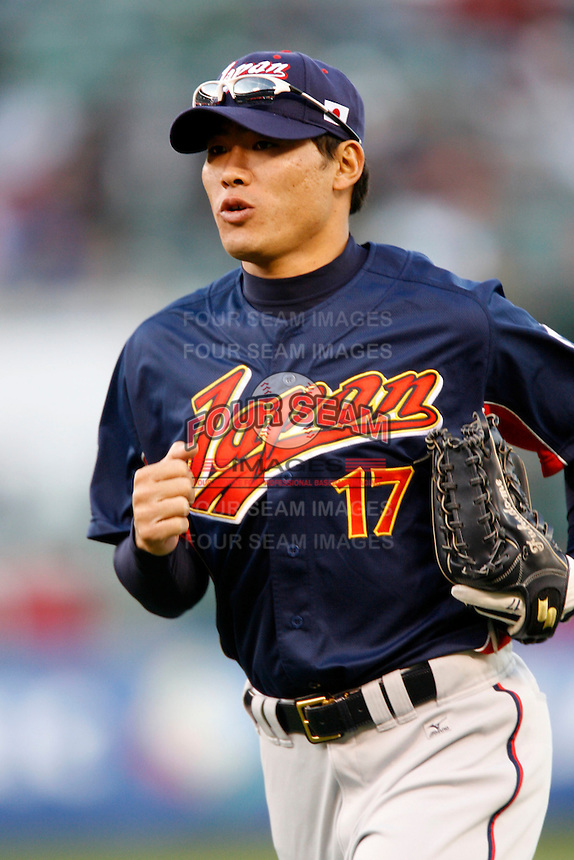Kosuke Fukudome of Japan during World Baseball Championship at Angel Stadium in Anaheim,California on March 14, 2006. Photo by Larry Goren/Four Seam Images