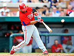 9 March 2011: Philadelphia Phillies' infielder Placido Polanco in action during a Spring Training game against the Detroit Tigers at Joker Marchant Stadium in Lakeland, Florida. The Phillies defeated the Tigers 5-3 in Grapefruit League play. Mandatory Credit: Ed Wolfstein Photo