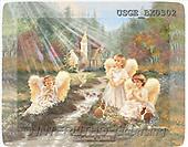 Dona Gelsinger, CHILDREN, paintings, 3 angels, rabbit(USGEBX0302,#K#) Kinder, niños, illustrations, pinturas angels, ,everyday