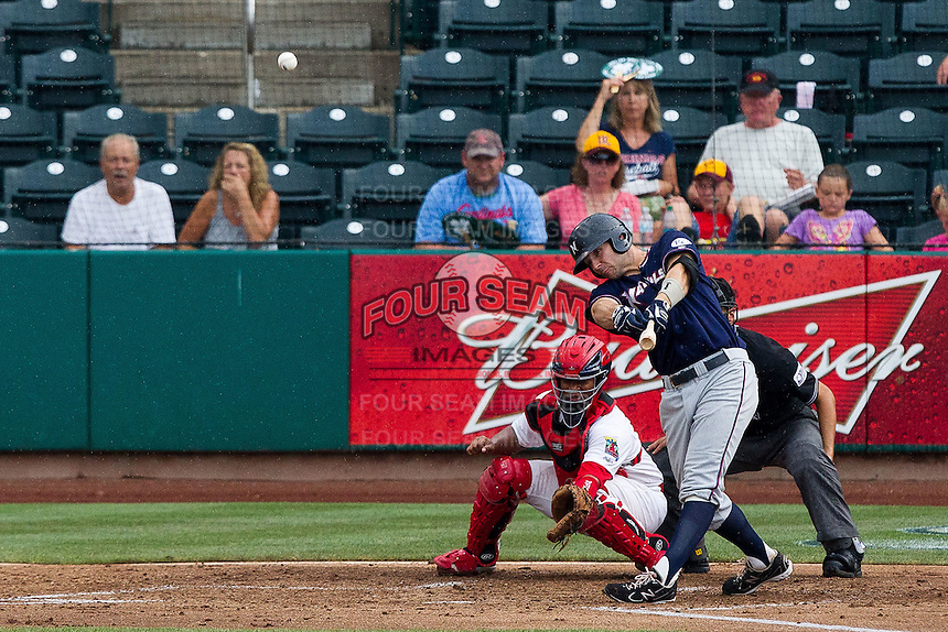 Jamie Romak (26) of the Northwest Arkansas Naturals crushes a ball to right field during a game against the Springfield Cardinals at Hammons Field on July 31, 2011 in Springfield, Missouri. Northwest Arkansas defeated Springfield 9-1. (David Welker / Four Seam Images)