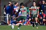 Manurewa fullback Ahsee Tuala attempts to kick a penalty goal. Counties Manukau Premier Rugby game between Ardmore Marist  and Manurewa played at Bruce Pulman Park Papakura on May 14th 2011. Ardmore Marist won 48 - 10 after leading 29 - 3 at halftime.