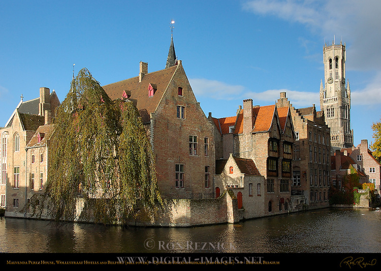 Malvenda Perez House, Wollestraat Hotels and Belfort Bell Tower, Djiver at Rozenhoedkaai Red Hat Quay, Bruges, Brugge, Belgium