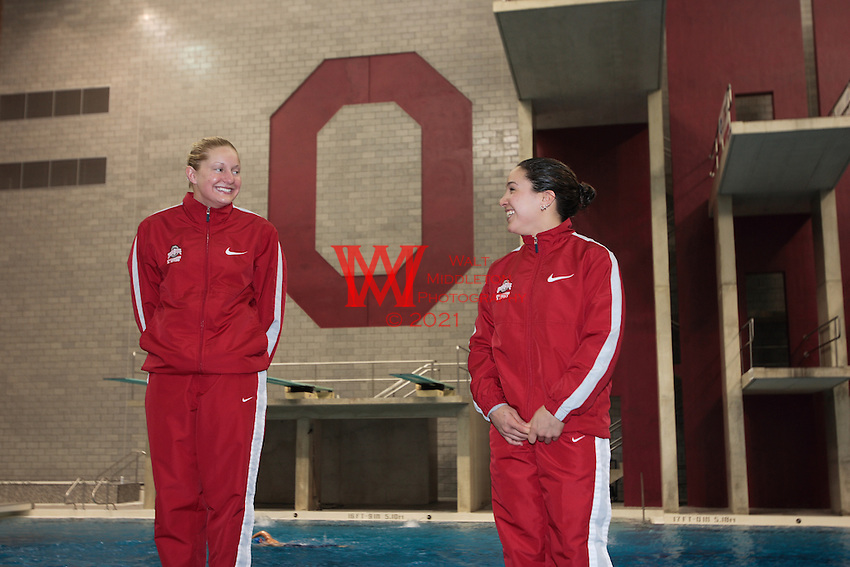 The Ohio State Divers Chelsea Davis & Bianca Alvarez celebrate their first and second place finishes on 3 Meter during the the NCAA Division I National Championships. <br />
