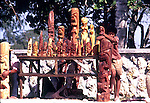 "Boy selling wooden Statues in Nuku""alofa Tonga, Tongan Islands, South Pacific,1980"