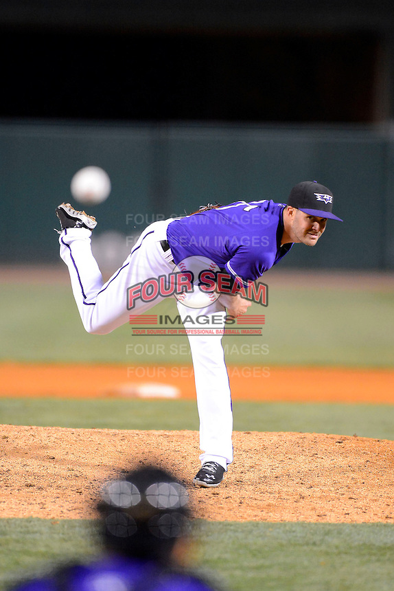 Louisville Bats pitcher Justin Freeman #15 during a game against the Indianapolis Indians on April 19, 2013 at Louisville Slugger Field in Louisville, Kentucky.  Indianapolis defeated Louisville 4-1.  (Mike Janes/Four Seam Images)