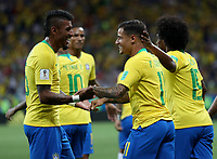 (180617) -- ROSTOV-ON-DON, June 17, 2018 -- Philippe Coutinho (2nd R) of Brazil celebrates scoring with teammates during a group E match between Brazil and Switzerland at the 2018 FIFA World Cup WM Weltmeisterschaft Fussball in Rostov-on-Don, Russia, June 17, 2018. ) (SP)RUSSIA-ROSTOV-ON-DON-2018 WORLD CUP-GROUP E-BRAZIL VS SWITZERLAND LuxJinbo  <br /> Rostov on Don 17-06-2018 Football FIFA World Cup Russia  2018 <br /> Brazil - Switzerland / Brasile - Svizzera <br /> Foto Xinhua/Imago/Insidefoto