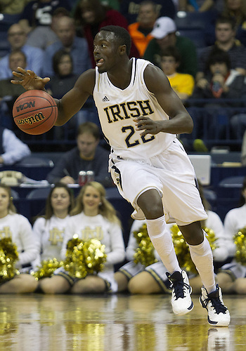 December 08, 2012:  Notre Dame guard Jerian Grant (22) dribbles the ball during NCAA Basketball game action between the Notre Dame Fighting Irish and the Brown Bears at Purcell Pavilion at the Joyce Center in South Bend, Indiana.  Notre Dame defeated Brown 84-57.