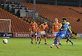 18-12-2018  FAC2 Replay Blackpool v Solihull Moor<br /> <br /> Adi Yussuf, celebrates his and Solihull's second goal, from the penalty spot.