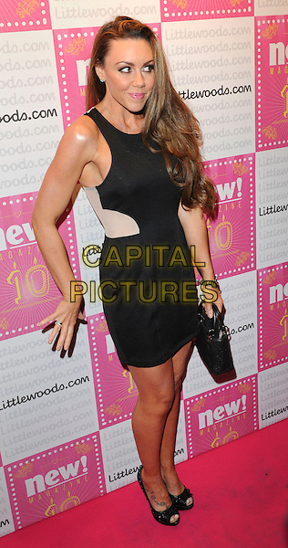Michelle Heaton.Attends new! Magazine 10th birthday party held at Gilgamesh, Camden, London, England..March 5th, 2013.full length black white sleeveless dress hand arm leaning  handbag purse .CAP/PP/GM.©Gary Mitchell/PP/Capital Pictures