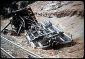 Various pieces of wreckage alongside track.<br /> D&amp;RGW