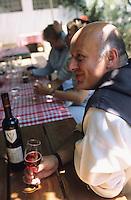 """France/06/Alpes-Maritimes/Env de Cannes/Iles de Lérins/Ile de St Honorat: Au restaurant """"la Tonnelle"""", frère Marie-Pâcques goûte le vin de l'abbaye de Lérins [Non destiné à un usage publicitaire - Not intended for an advertising use]"""