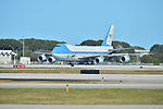 WEST PALM BEACH, FL - FEBRUARY 17: General view of Air Force One landing at the Palm Beach International Airport with U.S. President Donald J. Trump onboard as he prepare to spend part of the weekend at Mar-a-Lago resort on February 17, 2017 in West Palm Beach, Florida. After touring and meeting with Dennis Muilenburg Chairman of the Board, President, and CEO of the Boeing Company. also president Trump planning to hold a campaign rally tomorrow at Melbourne Florida. ( Photo by Johnny Louis / jlnphotography.com )