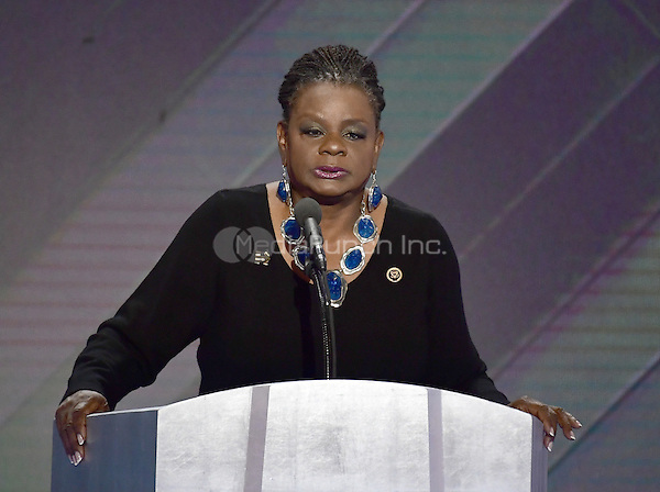 United States Representative Gwen Moore (Democrat of Wisconsin) makes remarks during the fourth session of the 2016 Democratic National Convention at the Wells Fargo Center in Philadelphia, Pennsylvania on Thursday, July 28, 2016.<br /> Credit: Ron Sachs / CNP/MediaPunch<br /> (RESTRICTION: NO New York or New Jersey Newspapers or newspapers within a 75 mile radius of New York City)