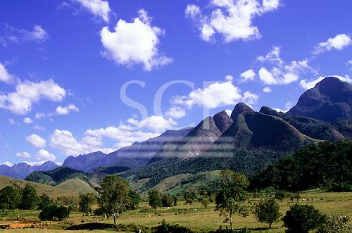 Nova Friburgo, Brazil. Atlantic rainforest (Mata Atlantica); partly deforested area of hills.