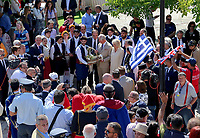 Pictured: Prince Charles and wife the Duchess of Cornwall are presented with gifts at the village of Arhanes on the island of Crete, Greece. Friday 11 May 2018 <br /> Re: HRH Prnce Charles and his wife the Duchess of Cornwall visit thevillage of Arhanes near Heraklion, Greece.