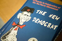 "Detail view of a Dr. Seuess-inspired conservative parody of President Barack Obama called ""The New Democrat"" by self-described ""conservative activist"" Loren A. Spivack.  Spivack sold copies of the book for $20 at a Romney town hall campaign event at McKelvie Intermediate School in Bedford, New Hampshire, on Jan. 9, 2012.  Romney is seeking the 2012 Republican presidential nomination."
