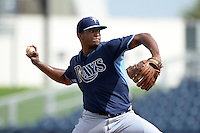 Tampa Bay Rays pitcher Isaac Gil (68) during an Instructional League game against the Minnesota Twins on September 16, 2014 at Charlotte Sports Park in Port Charlotte, Florida.  (Mike Janes/Four Seam Images)
