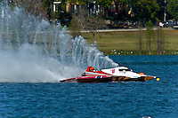 "John Shaw, T-125 ""My Shameless Mistake"", 1 Litre Stock class hydroplane and Alexis Weber, T-10 ""Flirtin' With Disaster"", 1 Litre Stock hydroplane"