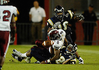 Florida International University Golden Panthers (0-5, 0-1 SBC)  versus the Troy University Trojans (3-2, 2-0 SBC) at the Orange Bowl, Miami, Florida on Saturday, October 6, 2007.  The Trojans defeated the Golden Panthers, 34-16...FIU senior defensive back Lionell Singleton (22) (Tallahassee, Fla.) breaks up an Omar Haugabook pass intended for Troy wide receiver Gary Banks (8).
