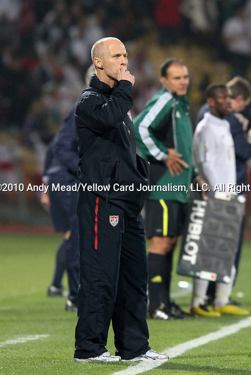 12 JUN 2010: United States head coach Bob Bradley. The England National Team played the United States National Team to a 1-1 tie at Royal Bafokeng Stadium in Rustenburg, South Africa in a 2010 FIFA World Cup Group C match.